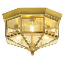 International 5224-11 - Three Light Brass Cage Flush Mount