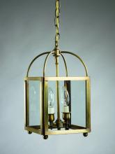 Northeast Lantern 6812-AB-LT2-CLR - Square Corners Hanging Antique Brass 2 Candelabra Sockets Clear Glass