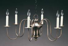 Northeast Lantern 914-AB-LT6 - Hanging Bell Body S-Arms Antique Brass 6 Candelabra Sockets