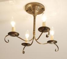 Northeast Lantern 984F-DB-LT4 - Flush S-Arms With Curl Dark Brass 4 Candelabra Sockets