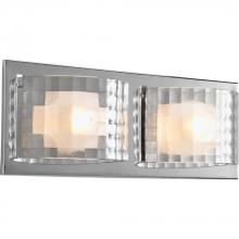 Progress P2824-15WB - Two Light Polished Chrome Clear Textured Glass Vanity