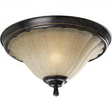 Progress P3598-84 - Two Light Espresso Weathered Sandstone Glass Bowl Flush Mount