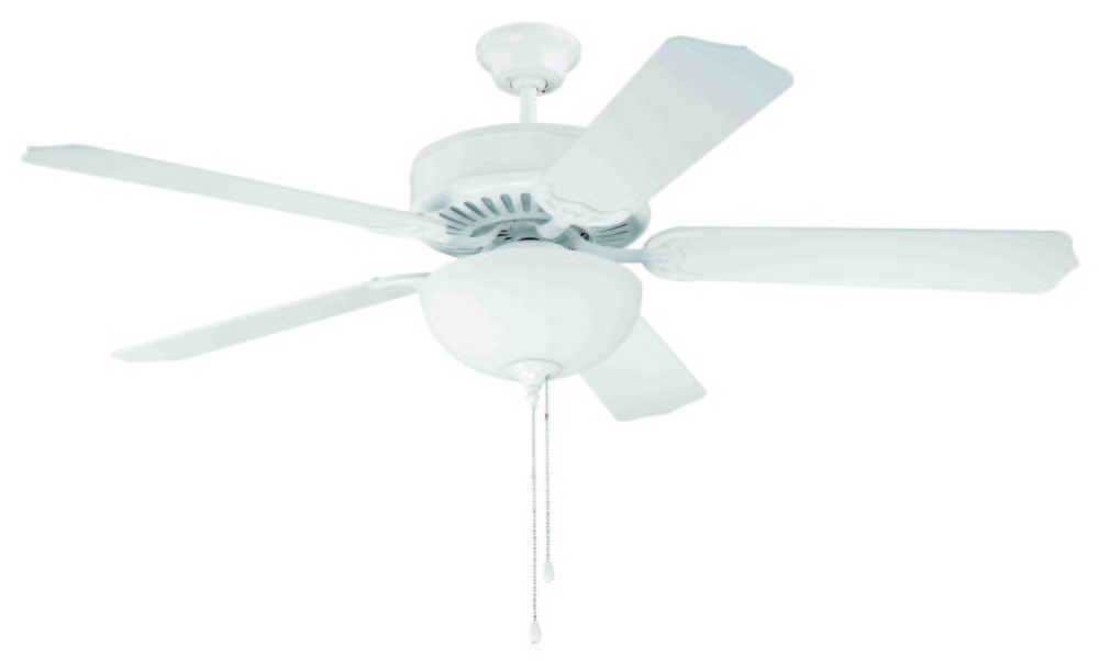 "Greenvale Electric Supply in Greenvale, New York, United States, Craftmade T5JH, Pro Builder 201 52"" Ceiling Fan Kit with Light Kit in White, Pro Builder 201"