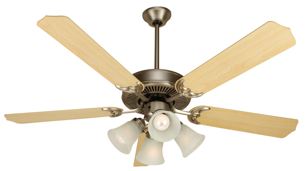 "Greenvale Electric Supply in Greenvale, New York, United States, Craftmade P4VX, Pro Builder 203 52"" Ceiling Fan Kit with Light Kit in Brushed Satin Nickel, Pro Builder 203"
