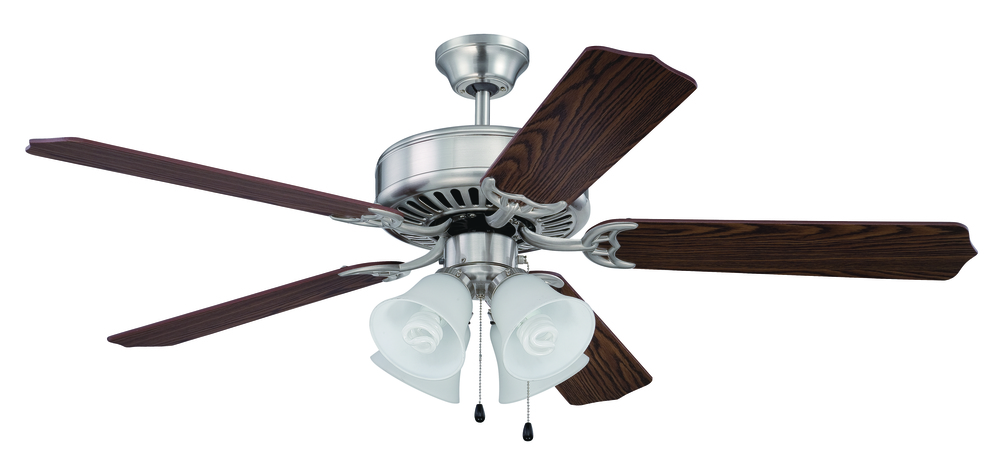 "Greenvale Electric Supply in Greenvale, New York, United States,  W39R, Pro Builder 203 52"" Ceiling Fan Kit with Light Kit in Brushed Polished Nickel, Pro Builder 203"