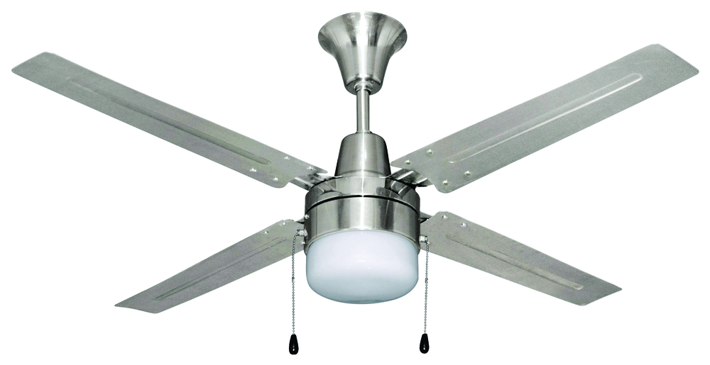 "Greenvale Electric Supply in Greenvale, New York, United States, Craftmade 9JUY2, Urbana 48"" Ceiling Fan with Blades and Light in Brushed Chrome, Urbana"
