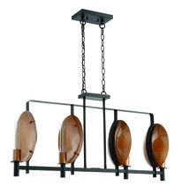 Craftmade 46574-MBKSCP - Candela 4 Light Island in Matte Black and Satin Copper
