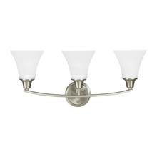 Sea Gull 4413203BLE-962 - Fluorescent Metcalf Three Light Wall / Bath Vanity in Brushed Nickel with Satin Etched Glass