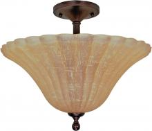 Nuvo 60/2407 - Moulan ES - 3 Light Semi Flush  w/ Champagne Linen Glass - (Lamp Included)