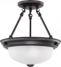 "Nuvo 60/3338 - 2 Light  11""  Semi-Flush w/ Frosted White Glass - (2) 13w GU24 Lamps Included"