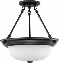 "Nuvo 60/3339 - 2 Light  13""  Semi-Flush w/ Frosted White Glass - (2) 13w GU24 Lamps Included"