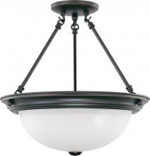 "Nuvo 60/3341 - 3 Light  15""  Semi-Flush w/ Frosted White Glass - (3) 13w GU24 Lamps Included"