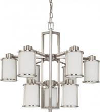 Nuvo 60/3809 - Odeon ES - 9 Light Chandelier w/ White Glass - (9) 13w GU24 Lamps Included