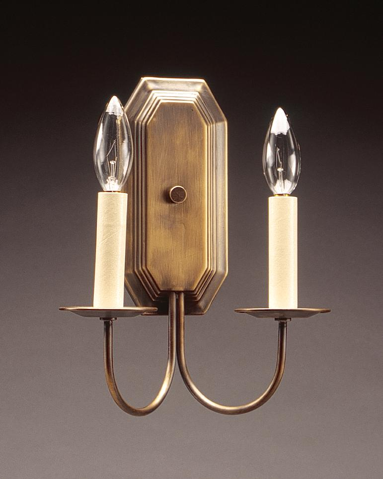 Greenvale Electric Supply in Greenvale, New York, United States,  UR1FC, Wall Sconce 2 J-Arms Antique Brass 2 Candelabra Socket, Sconce
