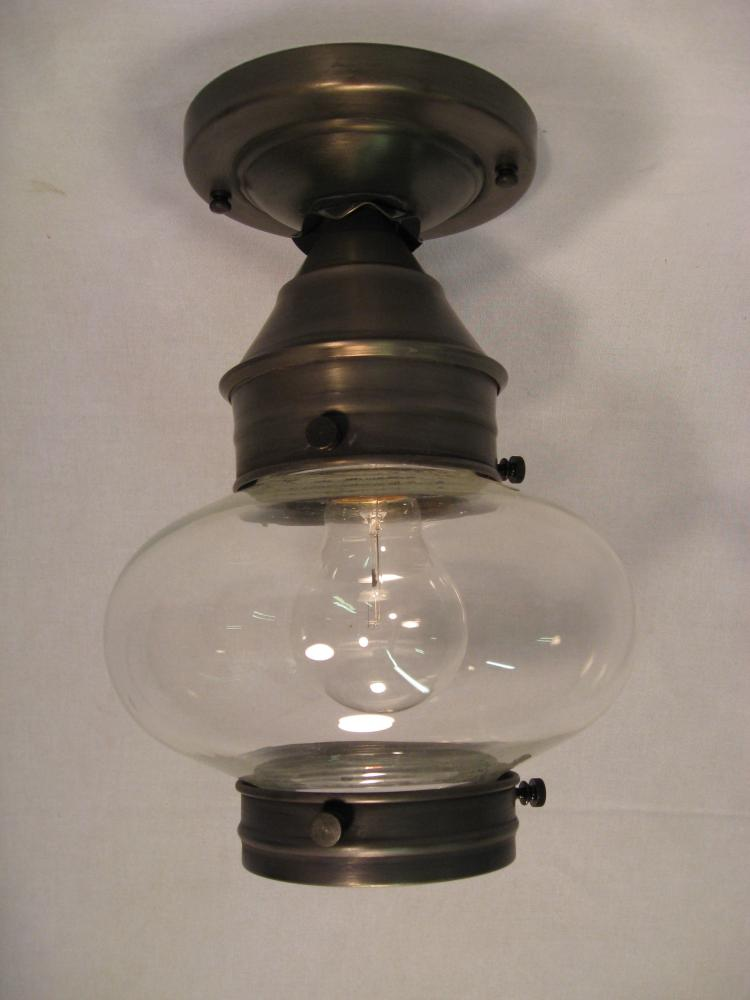 Greenvale Electric Supply in Greenvale, New York, United States, Northeast Lantern 84YEJ, Onion Flush No Cage Antique Brass Medium Base Socket Clear Glass, Onion