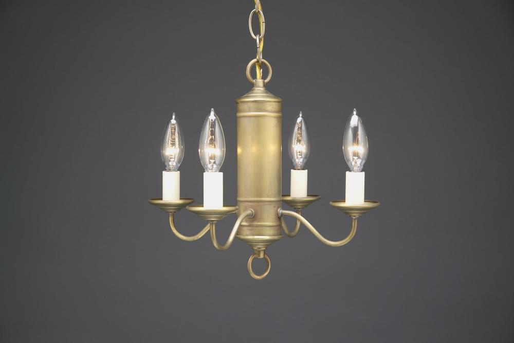 Greenvale Electric Supply in Greenvale, New York, United States, Northeast Lantern K2CMX, Hanging Cylinder J-Arms Antique Brass 4 Candelabra Sockets With Eggshell Shades, Chandelier