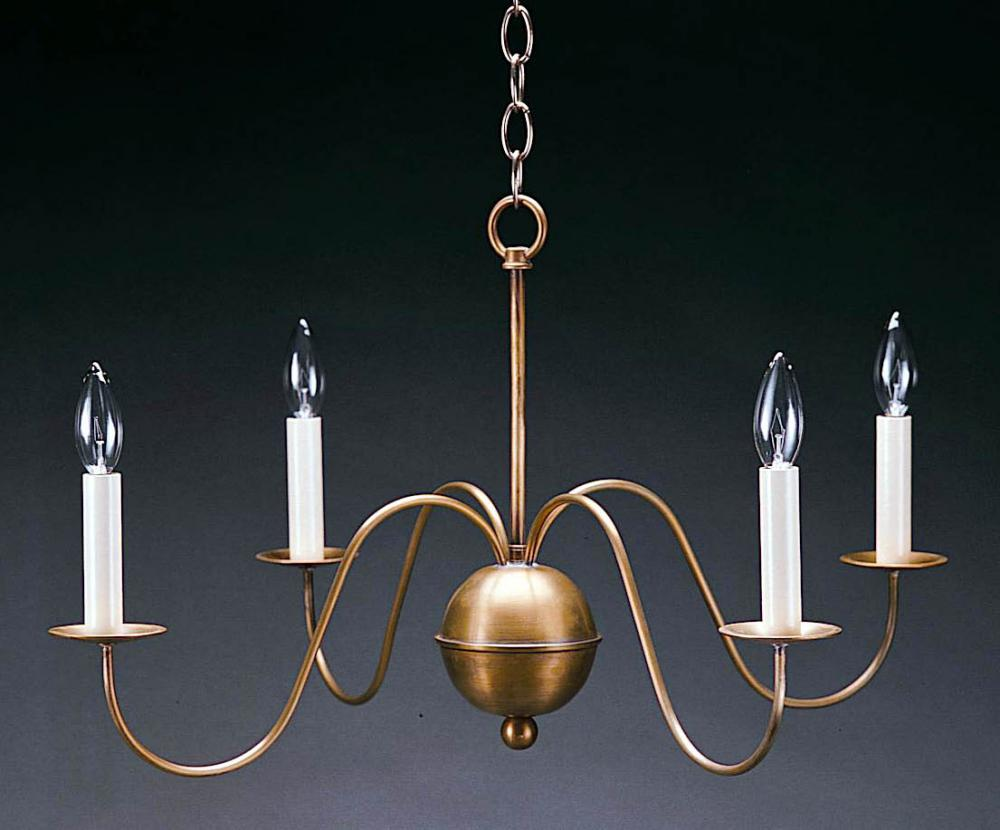 Greenvale Electric Supply in Greenvale, New York, United States,  K2HL9, Hanging S-Arms Antique Brass 4 Candelabra Sockets, Chandelier