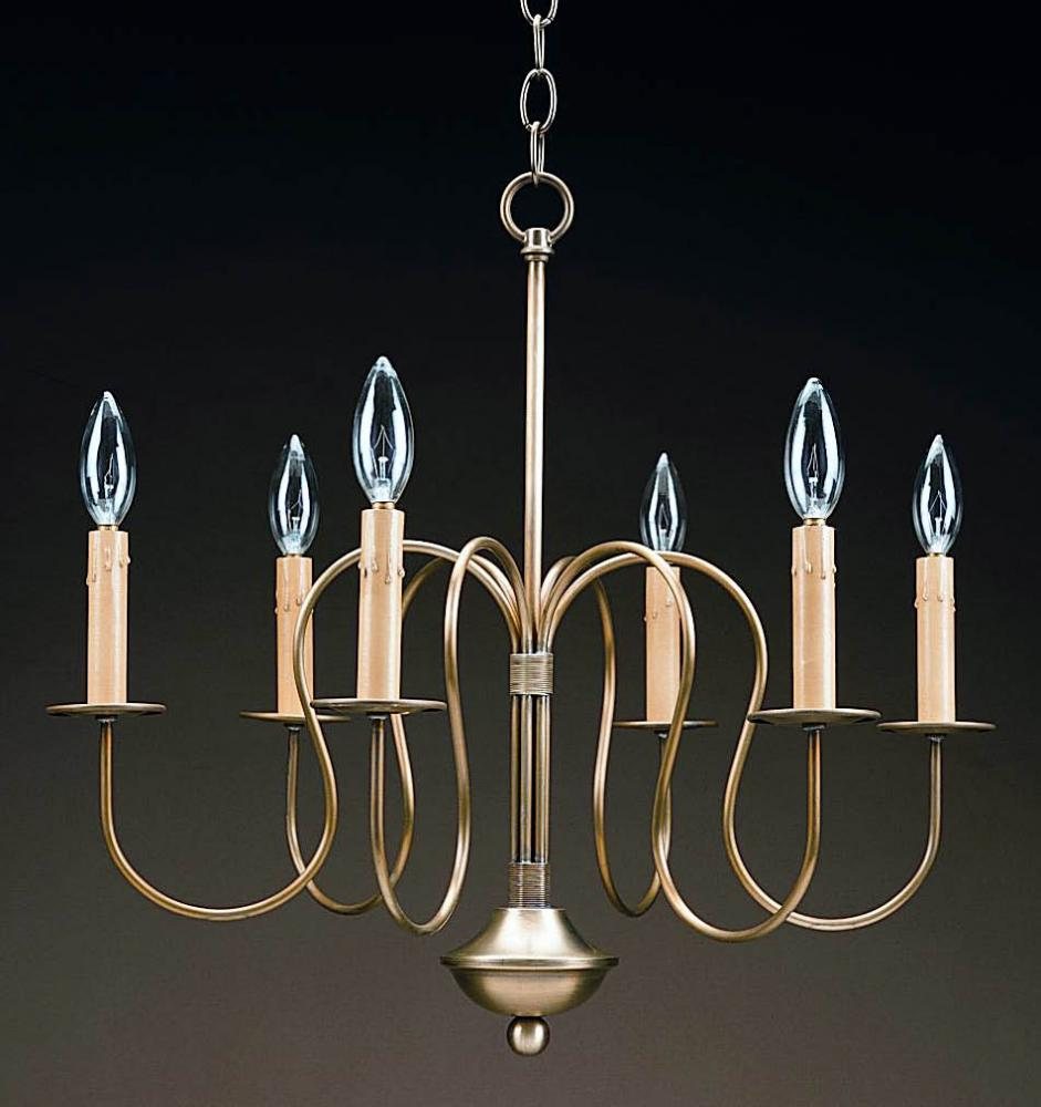 Greenvale Electric Supply in Greenvale, New York, United States, Northeast Lantern K2JJ9, Hanging S-Arms Antique Brass 6 Candelabra Sockets, Chandelier
