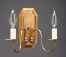 Northeast Lantern 137-AB-LT2 - Wall Sconce 2 J-Arms Antique Brass 2 Candelabra Socket