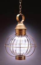 Northeast Lantern 2842-AB-MED-CLR - Caged Round Hanging Antique Brass Medium Base Socket Clear Glass