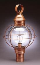 Northeast Lantern 2843-AC-MED-CLR - Caged Round Post Antique Copper Medium Base Socket Clear Glass