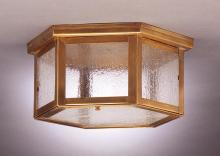 Northeast Lantern 4604-RB-MED2-CLR - Flush Raw Brass 2 Medium Base Sockets Clear Glass