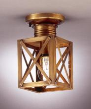 Northeast Lantern 5014-RB-MED-CLR - Can Top X-Bars Flush Raw Brass Medium Base Socket Clear Glass