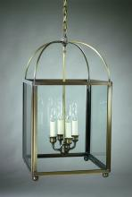 Northeast Lantern 6832-AB-LT4-CLR - Square Corners Hanging Antique Brass 4 Candelabra Sockets Clear Glass