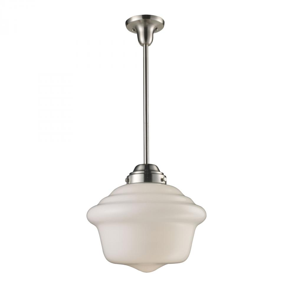 Greenvale Electric Supply in Greenvale, New York, United States, ELK Lighting NCKW, Schoolhouse Pendants 1 Light Pendant In Satin Ni, Schoolhouse Pendants